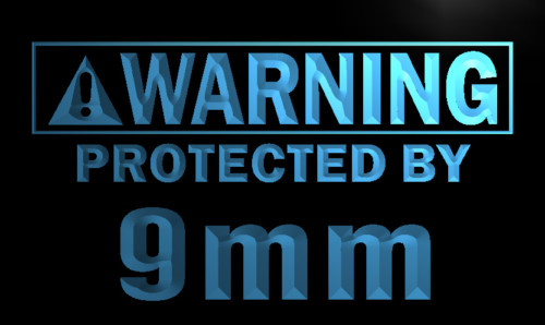 Warning Protected by 9mm Gun Neon Light Sign